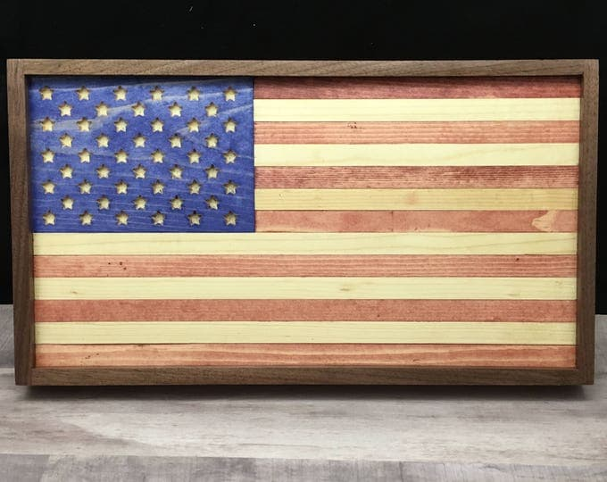 Featured listing image: Wood American Flag Framed in Walnut 13.5 inches by 7.25 inches.