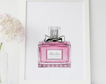 Miss Dior Perfume, Pink Feminine Decoration, Dior Perfume Bottle, Pink Fashion Print, Dior Wall Art, Vanity Bathroom Decor, Pink Dior Poster
