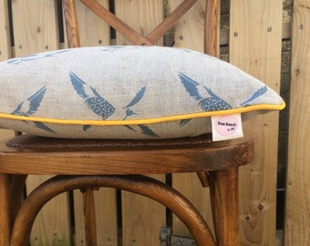 Scandi Bluebird Cushion Pillow Cover with Mustard Trim, English Linen, Blue Linen
