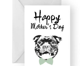 Staffy Mother's Day card- dog Mother's Day card, dog card, Mother's Day card, cute staffie card, staffie card