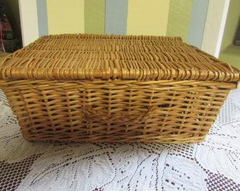 Wicker basket, VINTAGE wicker basket picnic Brown VTG storage with handle basket Wicker woven Mid Century Brown Wicker Basket