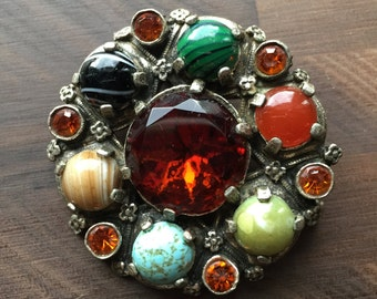 Vintage Multi-Color Jeweled Brooch or Pendant - Glass, Agate & Silver - Miracle Brand - Costume Jewelry