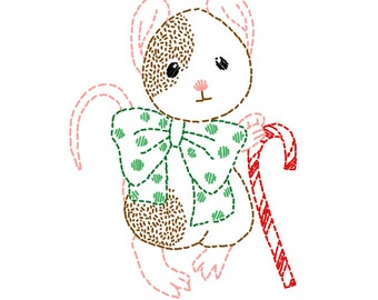 Dapper Christmas Mouse - PDF Hand Embroidery Pattern