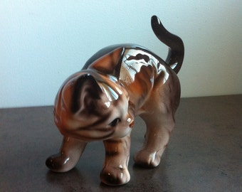 Vintage Cat Figurine - Tabby Cat Ornament - Beige Brown Orange Kitty - Gift for the Collector