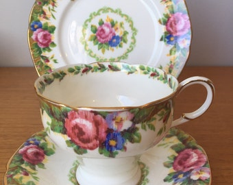 """Paragon """"Tapestry Rose"""" Vintage Teacup Saucer and Side Plate, Flower Tea Cup Trio, English Floral Bone China, Corset Shape"""