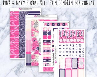 Pink and Navy Floral Horizontal Weekly Kit (100+ Matte Planner Stickers)