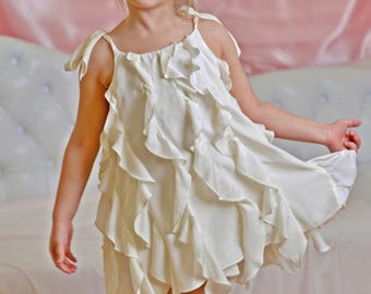 White maid of honor dresses for a wedding/ Bridesmaid gown ruffle dress/ Wedding attendant dress/ Baptism dress girl/ Wedding guest outfit