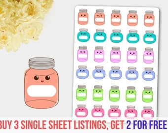 Budget Stickers, Mason Jar Stickers, Saving Jar Sticker, Kawaii Jar,