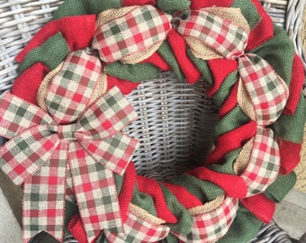 Christmas Burlap Wreath, Christmas Wreath, Christmas Plaid Wreath, Burlap Wreath, December Wreath, Holiday Wreath, Red and Green Wreath