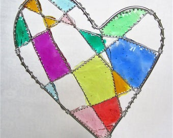 Personalized wedding cake topper, Custom decor, Bride and groom keepsake, Heart cake topper, Wire wedding decorations, Faux stained glass