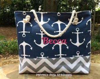 Chevron Beach Bag Pink, Large Chevron Tote, Anchor Tote, Monogram Beach Bag, Pool Bag