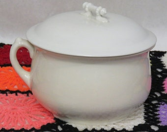 Antique Victorian Semi-Vitreous Porcelain Perfection China Chamber Pot with Lid