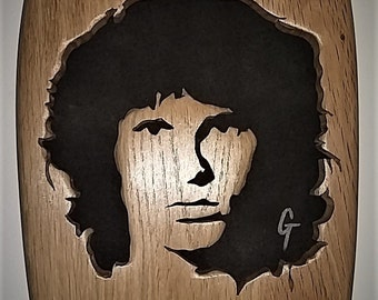Portrait fretwork of Jim Morrison
