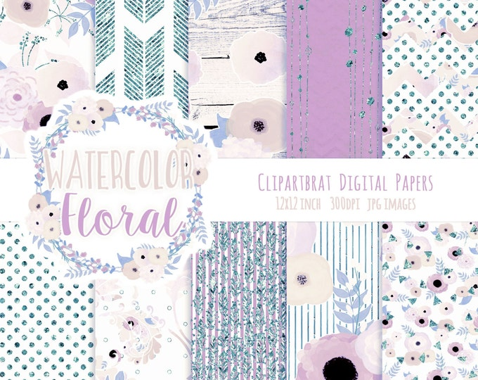 FLORAL WATERCOLOR Digital Paper Pack Teal Blush Pink & Blue Metallic Commercial Use Digital Paper Wood Arrows Bohemian Wedding Digital Paper