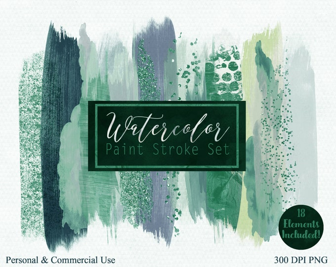 GREEN PAINT STROKES Clip Art Commercial Use Clipart Watercolor Brush Stroke Christmas Header Teal Green Confetti Watercolour Logo Graphics