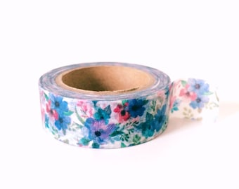 Blue and red pretty garden washi tape