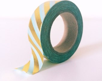 Mint and gold stripe washi tape