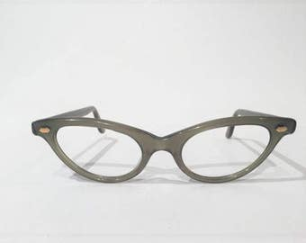 Green Cat Eye Glasses Frames, NOS, Vintage 50s 60s Cateye Eyeglasses, Sunglasses Frames, New Old Stock Vintage French Rockabilly Frames