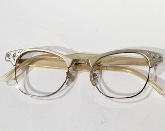 Vintage 50s-60s Artcraft Cat Eye Glasses Frames, Gold Frames Etched Aluminum w/Floral Design Eyeglasses, Rockabilly Cateye Sunglasses Frames