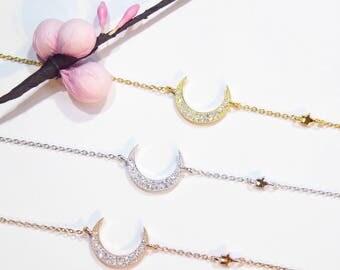 Moon & Star CZ Bracelet 925 Silver Yellow Rose Gold