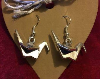 Silver Paper Crane Earrings. Origami Earrings. Crane Jewellery. Silver Plated. Japanese Crane. Bird Earrings. Fun Unusual  Jewellery.
