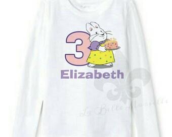 Custom Personalized Toddler Girls Max and Ruby Birthday Princess Shirt/Girls Birthday Shirt/Max and Ruby Shirt