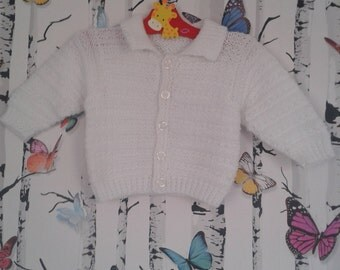 White Cardigan, Baby Boy, Baby Girl, Knitted Cardigan, 3- 6 Months, Handmade, Hand Knitted
