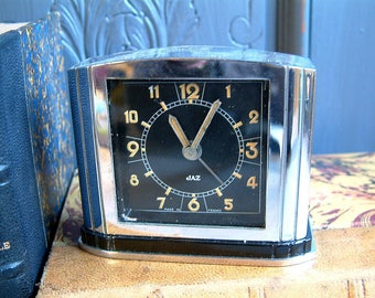 Antique french art deco small mechanical alarm clock. Mini Chrome plated  art deco alarm clock. Excellent condition. Man cave. Man gift.