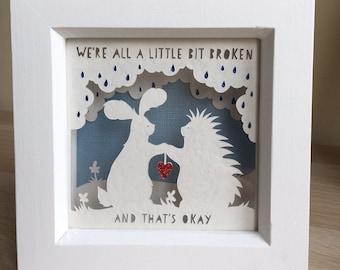 We're all a little broken... handmade papercut. (Small)