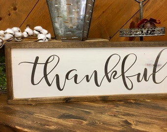 Thankful sign, home decor, farmhouse, farmhouse style, sign