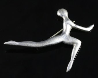 Vintage Stirling Silver Olympic Brooch
