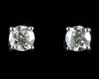 Diamond Solitaire Stud Earrings 18ct Gold 1.20ct Diamond