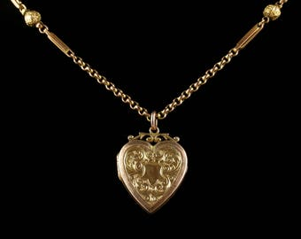 Antique Victorian Gold Locket and Chain Heart Locket Circa 1900