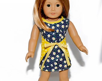 American made Girl Doll Clothes, 18 inch Doll Clothing, Wraparound Reversible Dress made to fit like American girl doll clothes