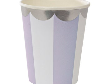 Cups | Meri Meri | Toot Sweet | Lavender & White Stripe Party Cups | Silver Foil Scallop Rim Paper Cups | Party Supplies | The Party Darling
