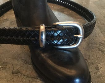 Coach Classic Black Leather Braided Belt Size 34""