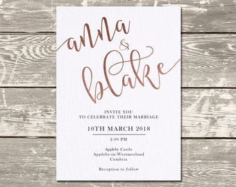 Simple Rose Gold Silver Foiled White Wedding Invitation Set 'Save The Date'