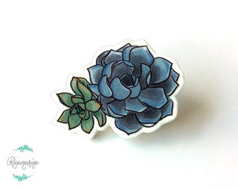 Succulent pin, Plant brooch, Handmade lapel pin, Plant lover gift