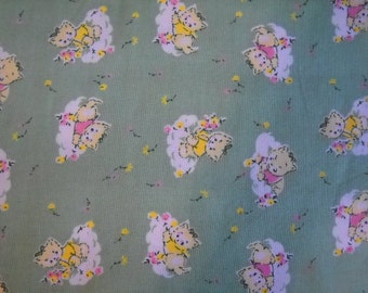 Vintage Kitty Green Fitted Baby Mini Crib Sheet