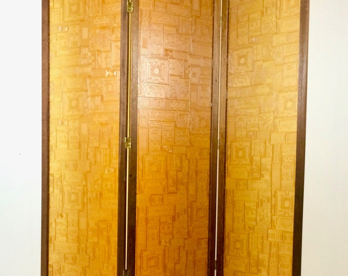 SOLD Mid Century Modern 3 Panel Screen Room Divider