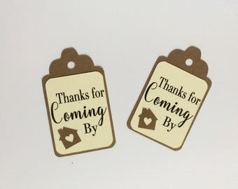 Thanks for Coming By Favor Tags, Set of 12 House Gift Tags