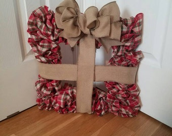 Plaid and Burlap Square Holiday Gift Wreath