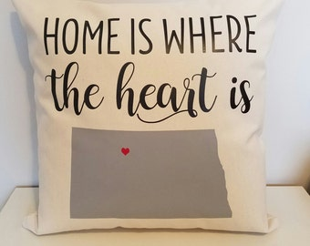 Personalized Throw Pillow - ND Home Is Where Your Heart Is - Choose Any State - Perfect For Housewarming Gifts, Weddings, Anniversary