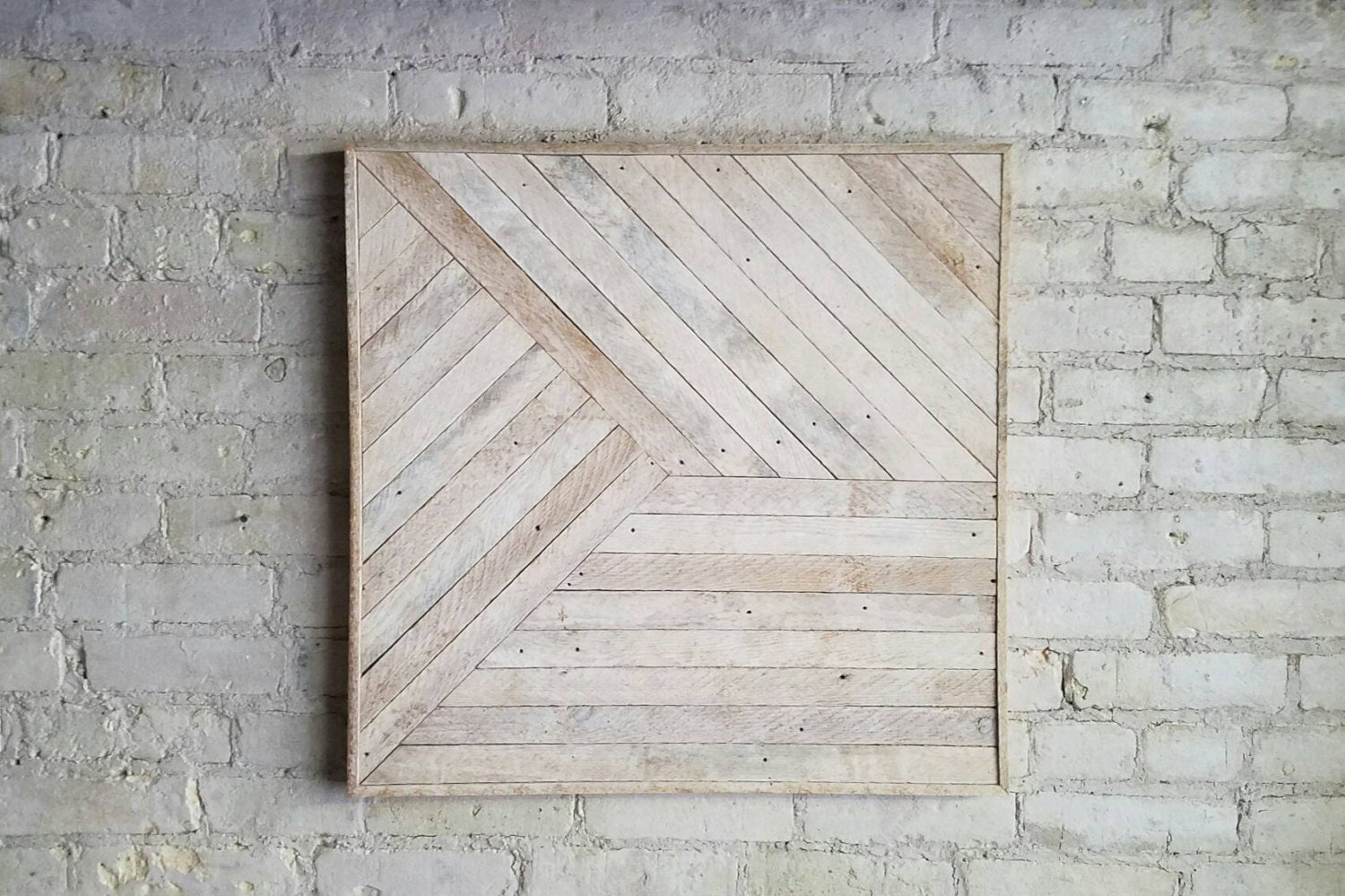 Reclaimed wood wall art decor lath pattern geometric zoom amipublicfo Choice Image