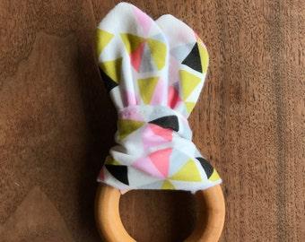 Organic Teething Ring - Pink Pinwheels