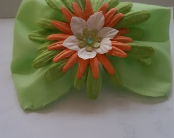 Green,white and orange flowers bow clip