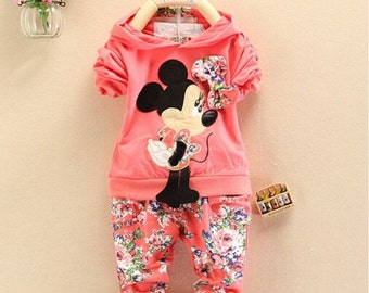 Baby Girls Clothing Pink Minnie Mouse outfit, Kids Casual Sport suit clothes Set