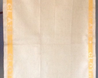 Unused Irish Linen Kitchen Towel Yellow