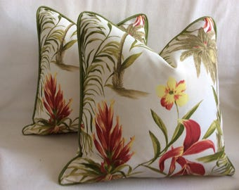 Tropical Print Indoor/ Outdoor Pillows - 2pc Set - Red/ Green/ Off White - Custom Piping - 18x18 Covers