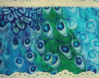 """Designer Fabric, Peacock Feathers Print, Embroidery Fabric, Blue Fabric, Sewing Decor, 41"""" Inch Cotton Fabric By The Yard ZBC7728A"""